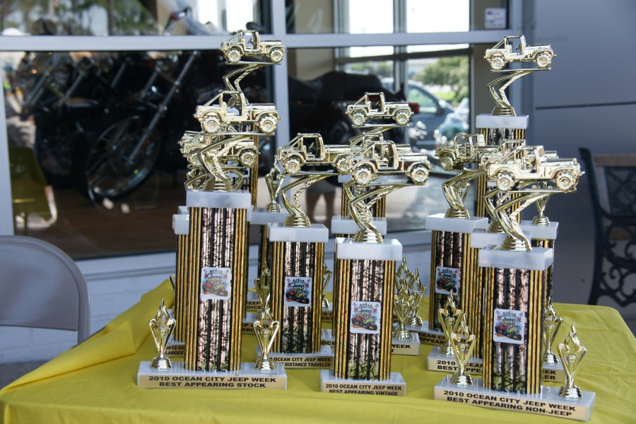 A few of the trophies from the event. They were donated by CC CUstoms of Berlin Maryland